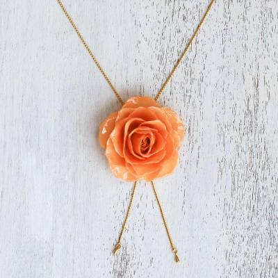 Natural rose lariat necklace, 'Garden Rose in Peach' - Peach Rose Lariat Style Necklace from Thailand