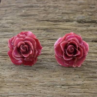 Natural rose button earrings, 'Flowering Passion in Cerise' - Natural Rose Button Earrings in Cerise from Thailand