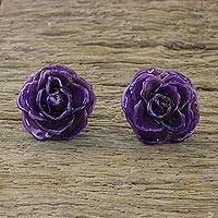 Natural rose button earrings, 'Flowering Passion in Purple' - Natural Rose Button Earrings in Purple from Thailand
