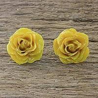 Natural rose button earrings, 'Flowering Passion in Yellow' - Natural Rose Button Earrings in Yellow from Thailand