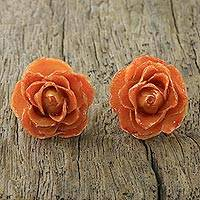 Natural rose button earrings, 'Flowering Passion in Orange' - Natural Rose Button Earrings in Orange from Thailand