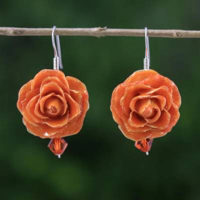 Natural rose dangle earrings, 'Floral Temptation in Orange' - Natural Rose Dangle Earrings in Orange from Thailand