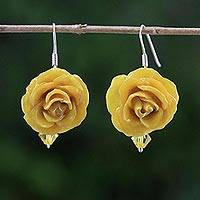 Natural rose dangle earrings, 'Floral Temptation in Yellow' - Natural Rose Dangle Earrings in Yellow from Thailand
