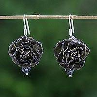 Natural rose dangle earrings, 'Floral Temptation in Black' - Natural Rose Dangle Earrings in Black from Thailand