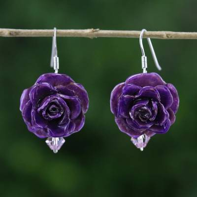 Natural rose dangle earrings, 'Floral Temptation in Purple' - Natural Rose Dangle Earrings in Purple from Thailand
