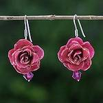 Natural Rose Dangle Earrings in Cerise from Thailand, 'Floral Temptation in Cerise'