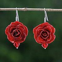 Natural rose dangle earrings, 'Floral Temptation in Red' - Natural Rose Dangle Earrings in Red from Thailand