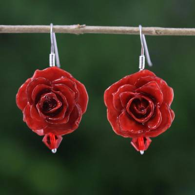 Natural rose dangle earrings, Floral Temptation in Red