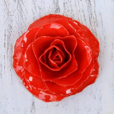 Novica Natural rose brooch, Rosy Mood in Purple
