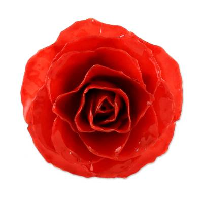 Artisan Crafted Natural Rose Brooch in Red from Thailand