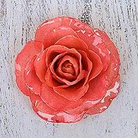 Natural rose brooch, 'Rosy Mood in Pink' - Artisan Crafted Natural Rose Brooch in Pink from Thailand