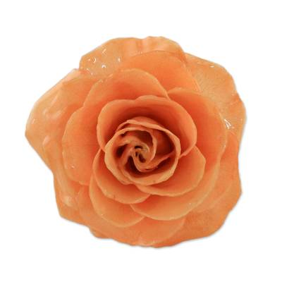 Artisan Crafted Natural Rose Brooch in Peach from Thailand