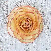 Natural rose brooch, 'Rosy Mood' - Artisan Crafted Natural Rose Brooch from Thailand