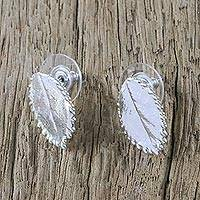 Sterling silver plated natural leaf button earrings, 'Rose Shine' - Silver Plated Natural Rose Leaf Earrings from Thailand