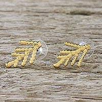Gold plated natural leaf button earrings, 'Natural Needles' - Gold Plated Natural Cypress Leaf Button Earrings