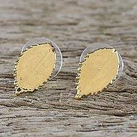 Gold plated natural leaf button earrings, 'Rose Shine' - Gold Plated Natural Rose Leaf Button Earrings from Thailand