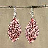 Natural leaf dangle earrings, 'Stunning Nature in Crimson' - Natural Leaf Dangle Earrings in Crimson from Thailand