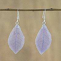 Natural leaf dangle earrings, 'Stunning Nature in Wisteria' - Natural Leaf Dangle Earrings in Wisteria from Thailand