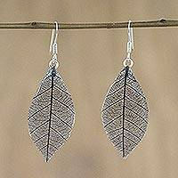 Natural leaf dangle earrings, 'Stunning Nature in Flint' - Natural Leaf Dangle Earrings in Flint from Thailand