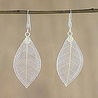 Natural leaf dangle earrings, 'Stunning Nature in Straw' - Natural Leaf Dangle Earrings in Straw from Thailand