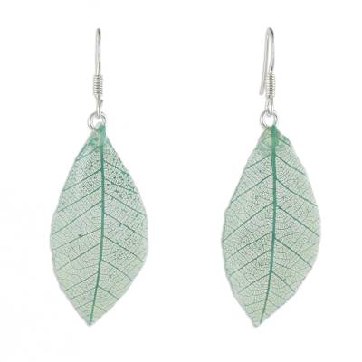 Natural Leaf Dangle Earrings in Jade from Thailand