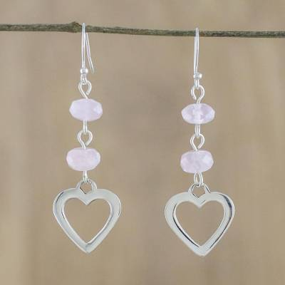 Rose quartz dangle earrings, 'Rosy Love' - Rose Quartz Heart-Shaped Dangle Earrings from Thailand