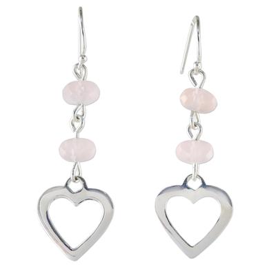 Rose Quartz Heart-Shaped Dangle Earrings from Thailand