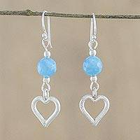 Quartz dangle earrings, 'Aqua Love' - Chalcedony Heart-Shaped Dangle Earrings from Thailand