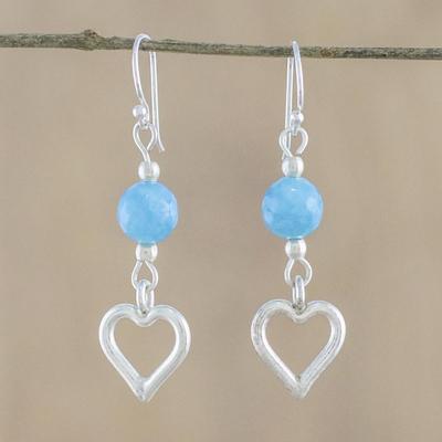Novica Chalcedony dangle earrings, Winter Wonderland