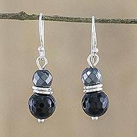 Onyx and hematite dangle earrings, 'Luxurious Day' - Onyx and Hematite Dangle Earrings from Thailand