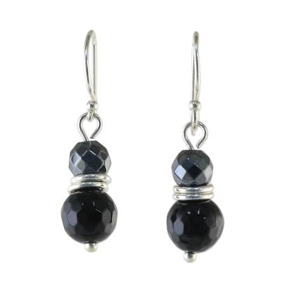 Onyx and Hematite Dangle Earrings from Thailand