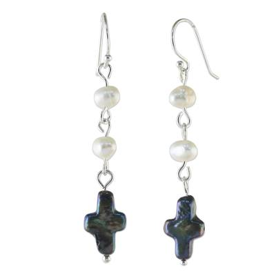 Cultured Pearl Cross Dangle Earrings from Thailand