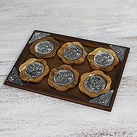 Aluminum and wood coaster and tray set, 'Natural Elephants' - Aluminum Elephant Coaster and Tray Set from Thailand