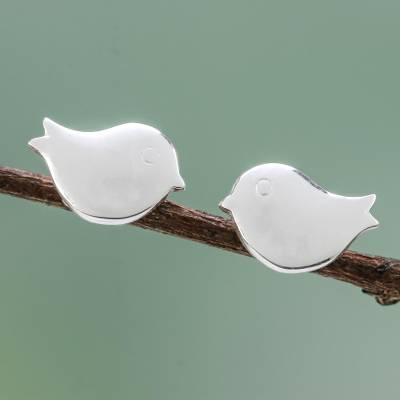 Sterling silver stud earrings, 'Little Birds' - Handcrafted Sterling Silver Bird Stud Earrings from Thailand