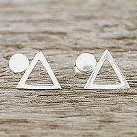 Sterling silver button earrings, 'Geometric Simplicity' - Handcrafted Sterling Silver Geometric Button Earrings