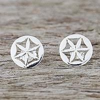 Sterling silver stud earrings, 'Flower Circles' - Handcrafted 925 Sterling Silver Floral Stud Earrings