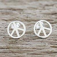 Sterling silver stud earrings, 'Sign of Peace' - Handcrafted Sterling Silver Stud Earrings with Peace Sign
