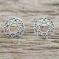 Sterling silver stud earrings, 'Attractive Circles' - Handcrafted 925 Sterling Silver Stud Earrings from Thailand