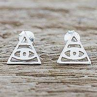 Sterling silver stud earrings, 'Open Eyes' - Handcrafted Sterling Silver Stud Earrings from Thailand