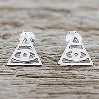 Sterling silver stud earrings, 'Open Eyes' - Handcrafted Sterling Silver Stud Earrings from Thailand