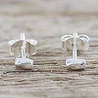 Sterling silver stud earrings, 'Silver Sparkle' - Handcrafted Sterling Silver Stud Earrings from Thailand