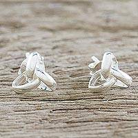 Sterling silver stud earrings, 'Silver Trinity' - Handcrafted Sterling Silver Stud Earrings from Thailand