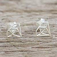 Sterling silver stud earrings, 'Diamond Delight' - Handcrafted Sterling Silver Diamond Shape Stud Earrings