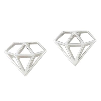 Handcrafted Sterling Silver Diamond Shape Stud Earrings