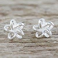 Featured review for Sterling silver stud earrings, Floral Delicacy