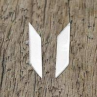 Sterling silver drop earrings, 'Parallelogram Shimmer' - Sterling Silver Geometric Drop Earrings from Thailand