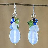 Quartz dangle earrings, 'Light Blue Princess' - Blue Quartz Multi-Gemstone Dangle Earrings from Thailand
