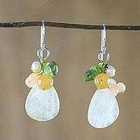 Quartz beaded dangle earrings, 'Soft Drops' - Quartz Multi-Gemstone Dangle Earrings from Thailand