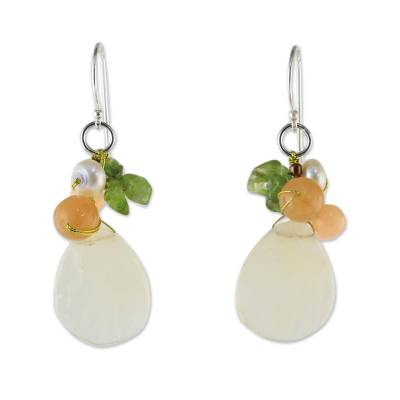 Quartz Multi-Gemstone Dangle Earrings from Thailand