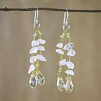 Rose quartz dangle earrings, 'Crystalline Drops' - Rose Quartz and Glass Bead Dangle Earrings from Thailand